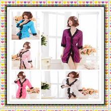 Sexy Satin Lace Long Sleeve Lingerie Dress Costume Baby Doll Fun Pajamas Free Shipping robe women