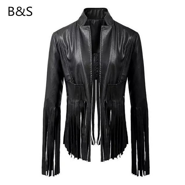 Женщин пальто кожаной куртки тонкий черный кисточкой дизайн осень / зима девушка ...