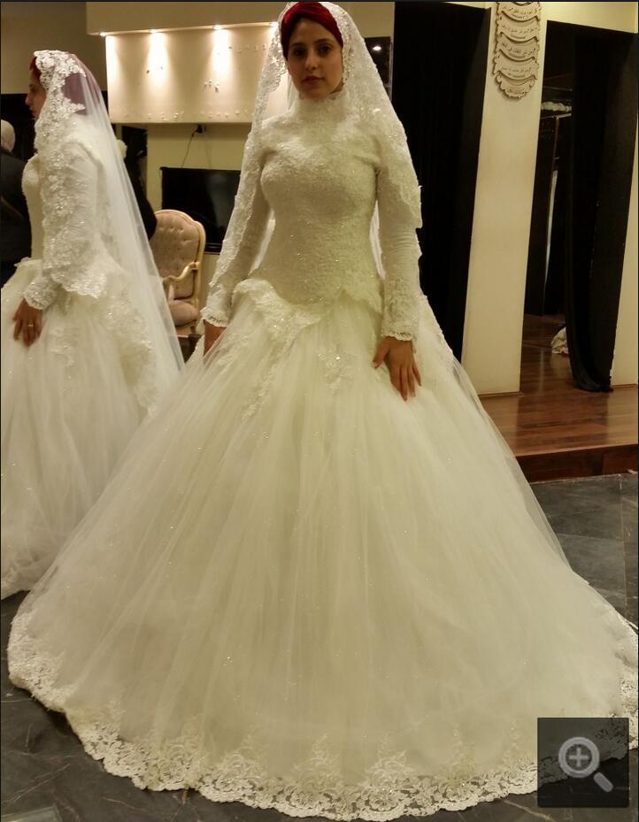 Long sleeve muslim wedding dress 2016 cheap ghana wedding for Cheap muslim wedding dresses