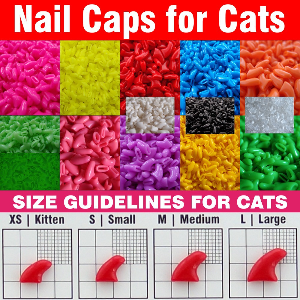 20pcs Soft Nail Caps for Cats Adhesive Glue Applicator XS S M L paw claw cover