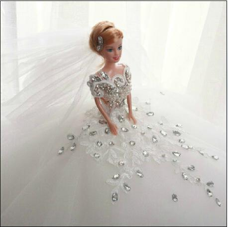 Retail ! Pure handmade ! Dream bride Barbie doll Wedding dress shop decoration Girl's birthday gift HD001(China (Mainland))