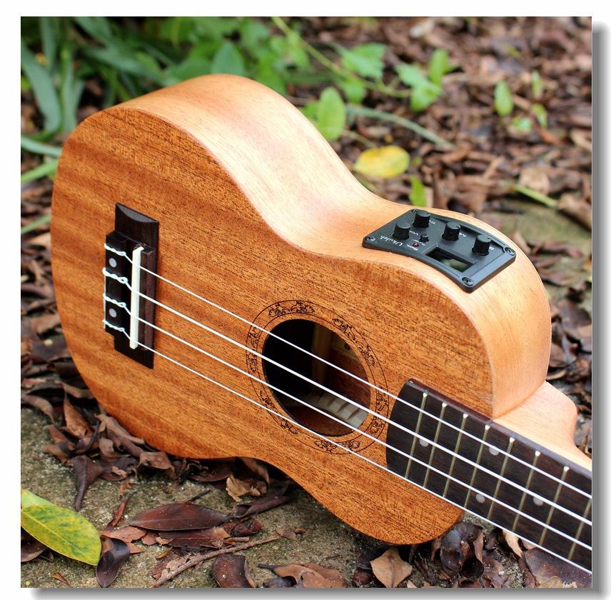 Soprano Acoustic Electric Ukulele 21 Inch Guitar 4 Strings Ukelele Guitarra Handcraft Wood White Guitarist Mahogany Plug-in Uke(China (Mainland))
