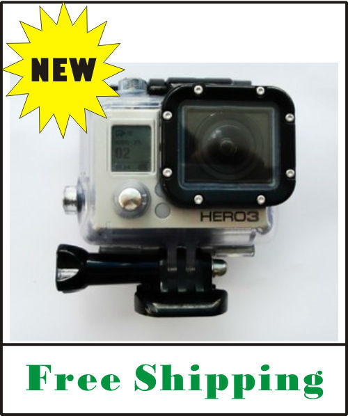 Top Quality FREE SHIPPING Gopro hero3 waterproof housing case with Glass Lens with mount underwater diving for Gopro Hero3