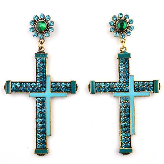 S&P Brand 2015 New Fashion Jewelry Women Zinc Alloy Trendy Dangle Earrings Cross European Style Earrings For Women E0126(China (Mainland))
