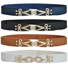 Buy Women Fashion Thin Flower Gold Metal Buckle Elastic Stretch Corset Waist Belt for $1.47 in AliExpress store