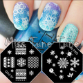 2pcs XMAS Small Size Nail Stamping Plate Image Transfer Templates Stamp Tool Christmas Snowflake Nordic Reindeer