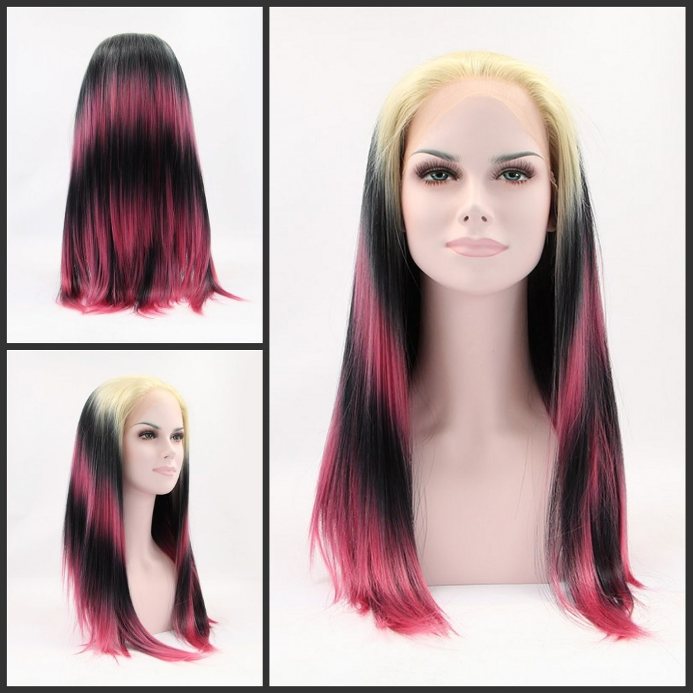 glueless heat resistant ombre three tone color yellow/black/pink synthetic lace front wig/gaga wig - Qingdao noble queen hair factory store