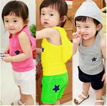 Fashion Summer Korean Hooded Children's Suit of  T-shirt and Shorts with Star Pattern for Boys and Girls
