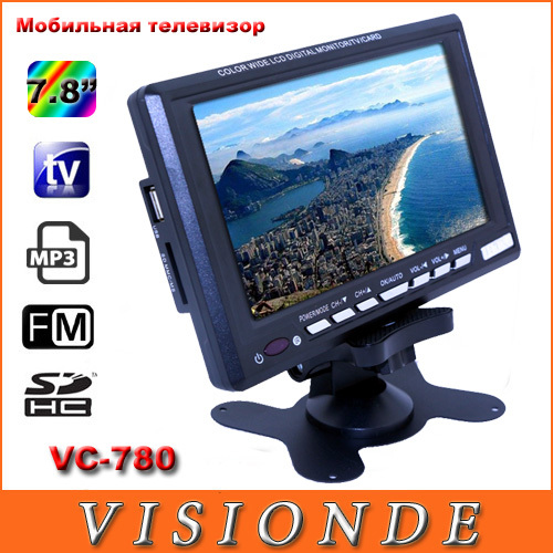 2014 Home Audio & Video Mini Television Portable 7.8 inch TFT LCD Color TV With Wide View Angle Support USB SD Card Black VC780(China (Mainland))
