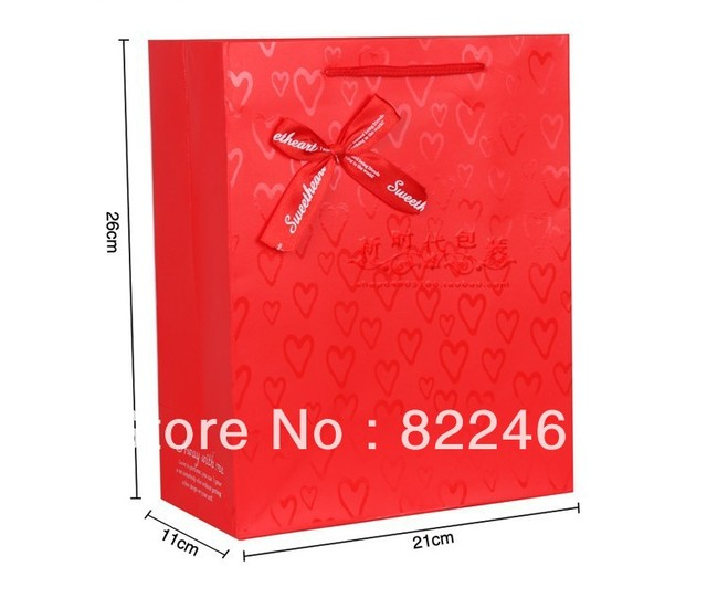 26*21*11CM Manufacturers selling han edition red festive gift bag paper bag packaging bag in a large wholesale