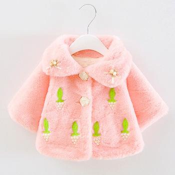2015 autumn winter thich baby coats 0-2T baby girls outerwear flower warm jackets fleece coat dk326