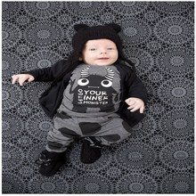 2016 New summer style Cotton little monsters short sleeve infant clothes baby clothing sets baby boy clothes VCZ69P50