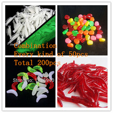 Free shipping Total 200pcs Each 50pcs set of soft lure combination fishing lures Earthworms shrimp corn bread and worms