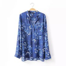 2016 New Blouses Women Fashion Print Spring Summer Blusas Femininas V-Neck Floral Roupas Lady Tops Shirt Women Clothes Dark Blue(China (Mainland))
