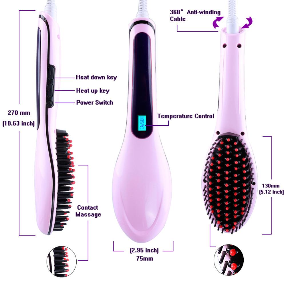 Automático ferros alisamento pente cabelo liso elétrico pente escova Display LCD