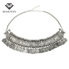 Gypsy Beachy Chic Statement Necklace Women Fashion Bib Coins Tassels Vintage Chokers Ethnic Maxi Necklaces & Pendants CE2386(China (Mainland))