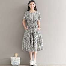 Mori Girl элегантное женское платье трапециевидной формы повседневное винтажное платье с эластичной резинкой на талии Vestidos с коротким рукавом ...(China)