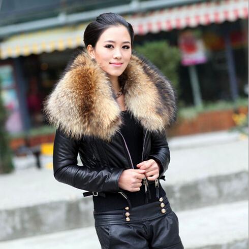 2014 New fashion womens winter coat fur & leather raccoon real sheepskin Dropship - Andy Xu store