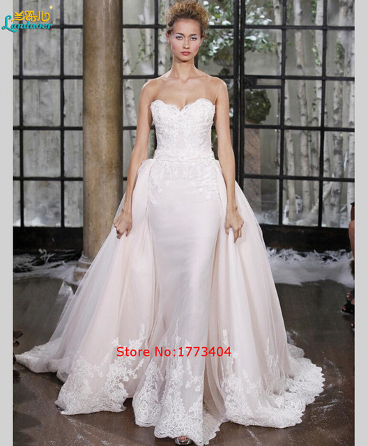 Cheap Top Fashion Strapless Wedding Dresses Lace Backless With ...
