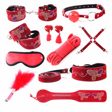 Buy SM Erotic Positioning Bandage 10pcs/set Leather Fetish Restraint Bondage Kit Mask Ball Gag Handcuffs Sex Toy Couples J36 for $24.94 in AliExpress store