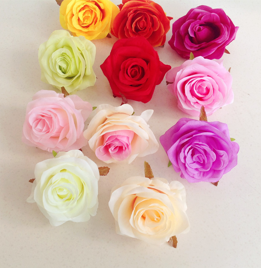 48pcs/lot Artificial Rose Flower Heads 11 Colors Plastics Flowers 8cm Chinese Roses for Wedding Party Centerpieces Floral Decor(China (Mainland))