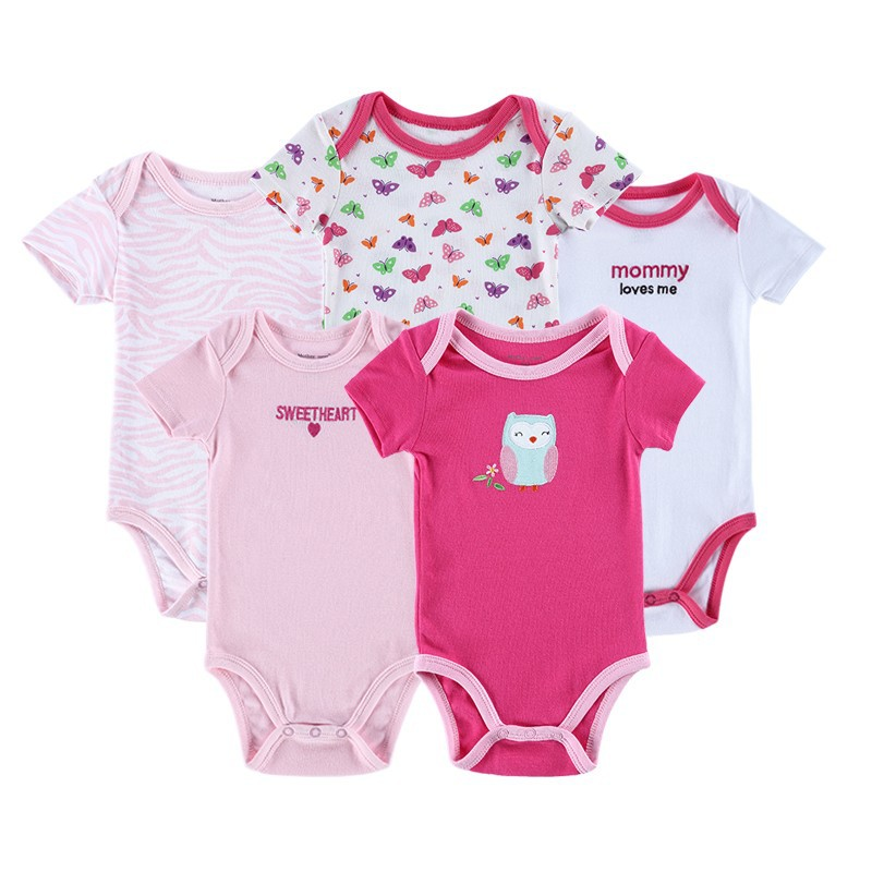 Newly 5 Pieceslot Baby Romper Set Short Sleeve Car Trimed Baby Wear Jumpsuit Baby Girl Boy Bebe Clothing Set Body Suits (3)