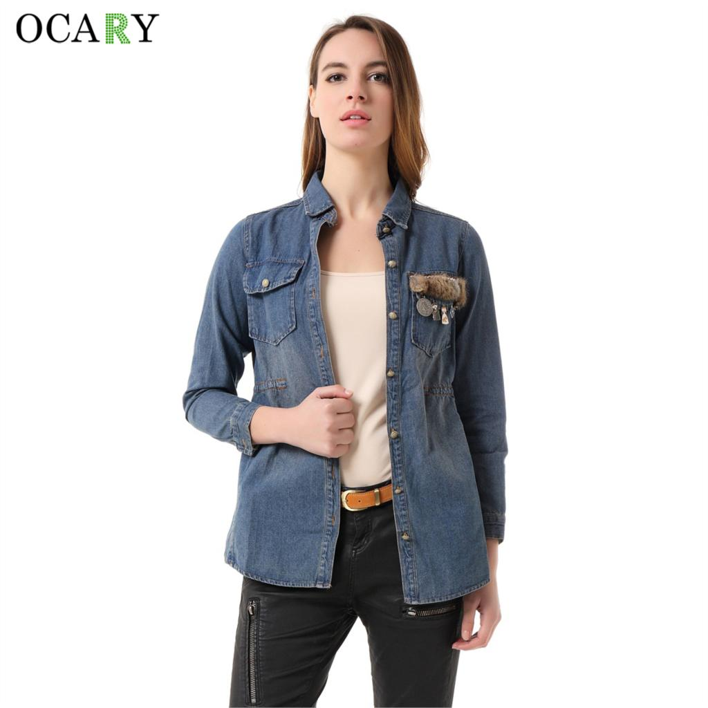 2016 New Spring Summer Brand Quality Women Tops Delicate Women Denim Blouse Fashion Fur Pendants Shirts Casual Slim Blusas Femme(China (Mainland))