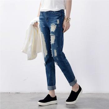 Hot sale Women's ripped jeans Fashion boyfriend jeans for woman Loose hole denim pants Free shipping