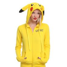 Factory Made Winter Spring Pikachu Hoodie Pokemon Animal Hoody Sweatshirt Cotton Coat Cosplay Costume(China (Mainland))