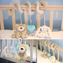 Free Shipping 2015 New Mamas Cot Bed Hanging Toy Baby Rattle Toys Soft Plush Bear Heart Rabbit Musical Mobile Products(China (Mainland))
