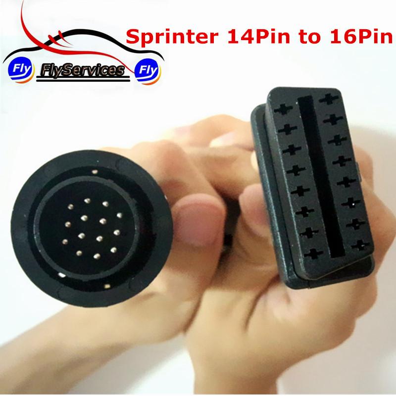 MB Sprinter 14 Pin 16 Pin OBD OBD2 Diagnostic Adaptor Connector Cable MB 14PIN