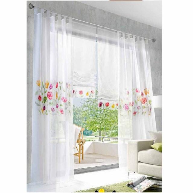 venta caliente cortinas para la cocina moderna bordado voile sheer cortinas cortas para la cocina dormitorio