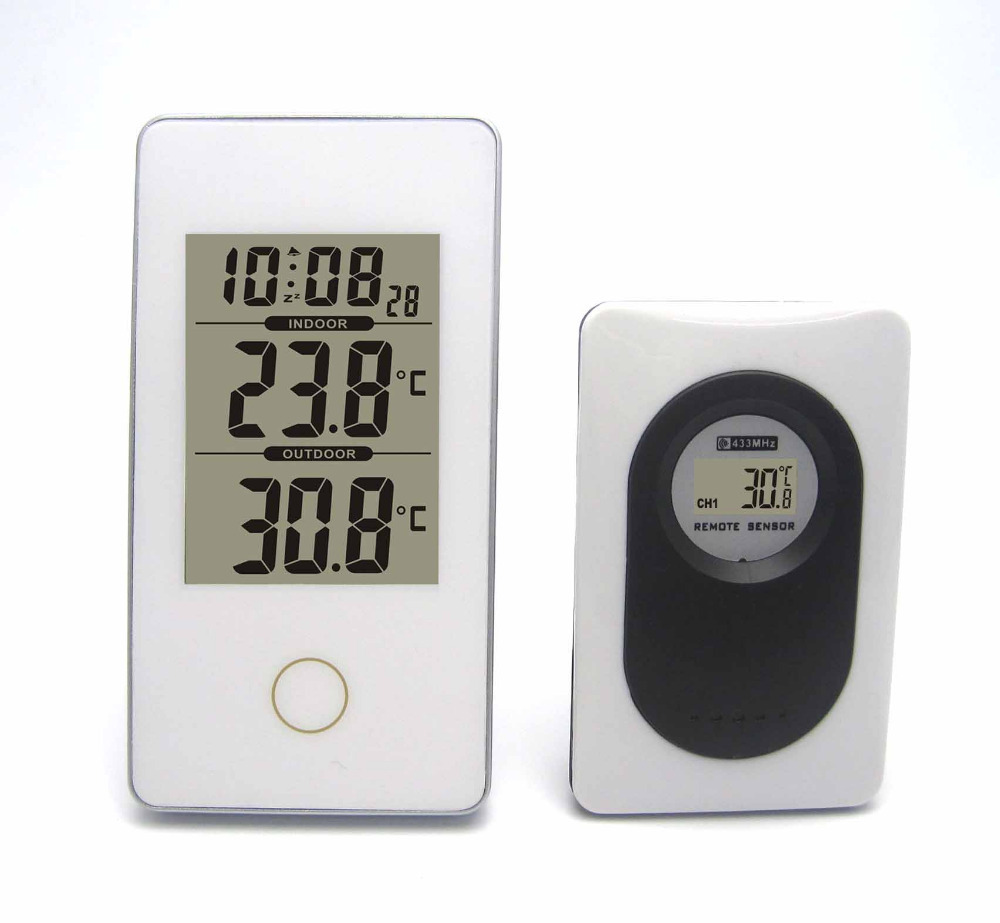 Modern Simple Style Wireless Weather Station White Indoor/Outdoor Digital Thermometer Snooze/Alarm Clock(China (Mainland))