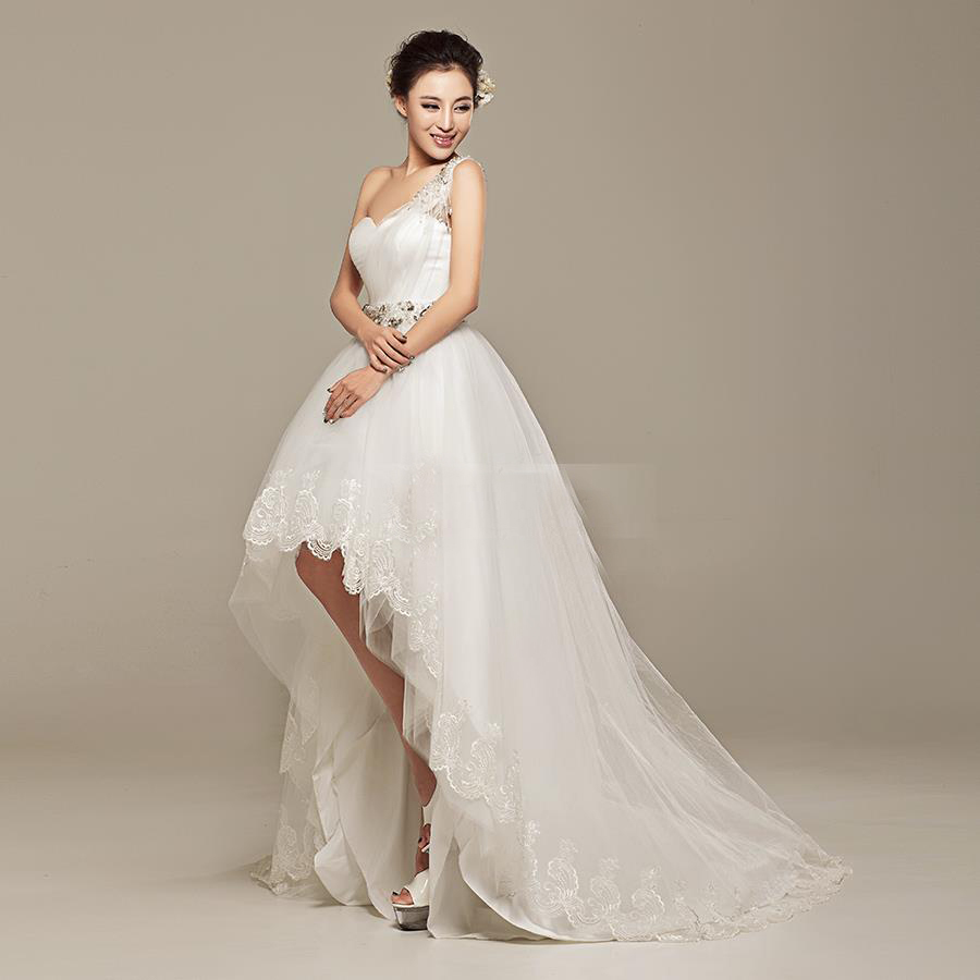 One shoulder beaded high low wedding dresses short front for Back necklace for wedding dress