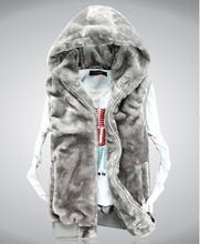 Xxxl New 2014 Fashion Winter Faux Mink Fur Leather Vest Men/Women/Couple Sleeveless Waistcoat Vest Sport Casual Hood Jacket A471(China (Mainland))