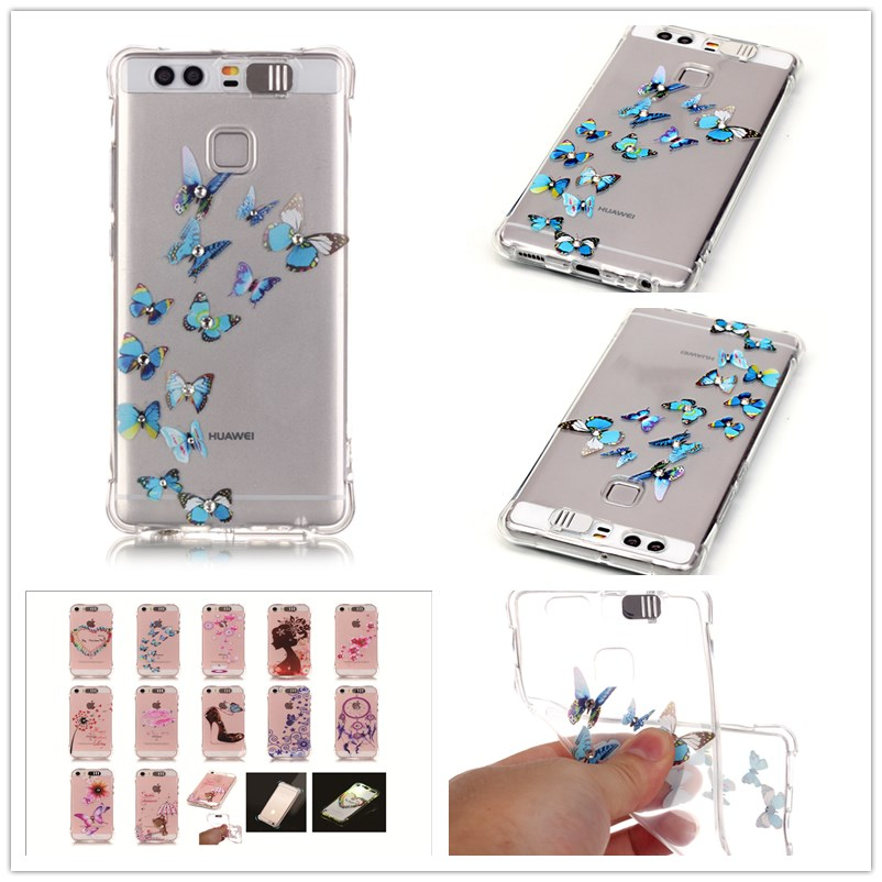 For HUAWEI P9 Case Shatter-resistant Gas cushion shining Case Luxury Diamond Jewelry transparent TPU case(China (Mainland))
