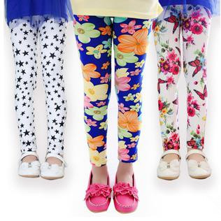 12 PCS/LOT Girls Leggings 2015 summer Children Leggings pants flora print Baby kids Skinny Leggings Micro fiber trousers FF1547