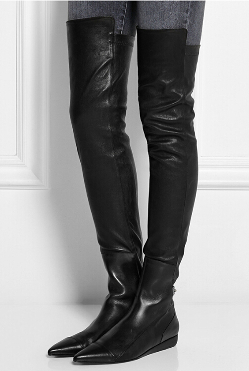 Thigh High Black Leather Flat Boots