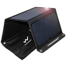 Portable Solar Charger 21 Watts Double USB Ports PowerGreen Solar Power Bank Folding Solar Panel for Mobile Phone