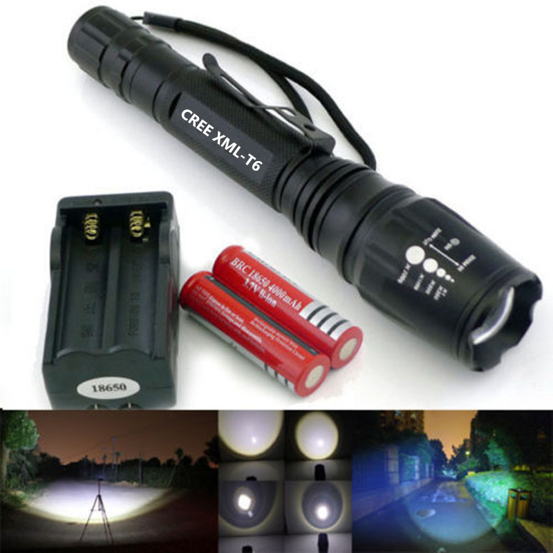 2015 hot 2200LM CREE XM-L T6 LED Flashlight Torch Light+2x5800mAh 18650 Battery+us/eu Charger(China (Mainland))