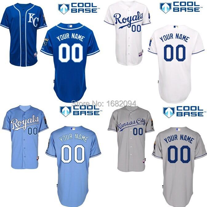 Custom Kansas City Royals Cool Base Men's Authentic Personalized Baseball Jersey stitched S-3XL(order>5pcs-10%off)Free shipping(China (Mainland))