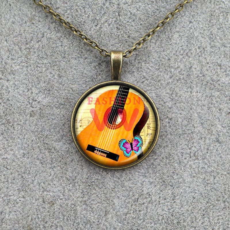 VZA0931 punk guitar pendant guitar necklace musician music pendant necklace fashion jewelry glass dome necklace for friend(China (Mainland))