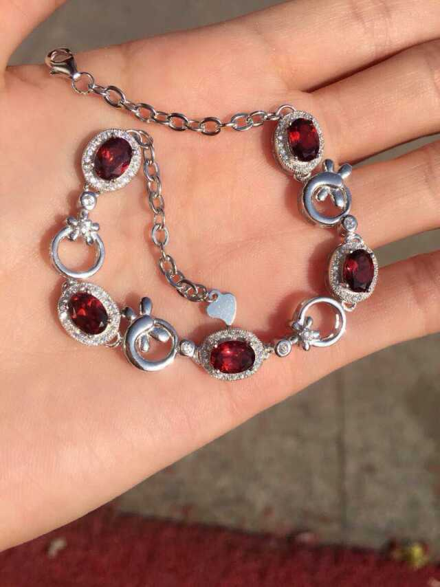 Fashion personality dragonfly shape natural garnet stone bracelets 925 sterling silver natural gem stone bracelet women jewelry<br><br>Aliexpress