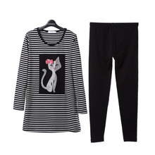 Song Riel cute cartoon girl in spring and autumn 2015 fashion striped pajama suit tracksuit Yan