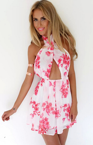 The cool sexy and beautiful printing hang neck chiffon dress Go to the seaside beach is a good choice Backless dress(China (Mainland))