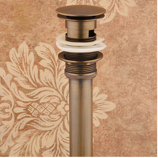 2015 High quality Solid Anti-bronze Brass Bathroom Lavatory Sink Push-down Pop Up Basin Drain bathroom parts faucet accessories(China (Mainland))