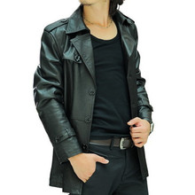 Spring Male Plus Size Genuine Leather Clothing Male Medium-long Slim Genuine Leather Trench Autumn And Winter Leather Coat(China (Mainland))