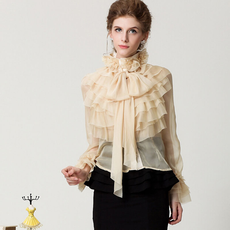 S-XXL 2016 new spring nice vintage sweet lady princess royal court chiffon ruffles bow designer long sleeve tops blouse shirt - S&H fashion trading Co.,Ltd store