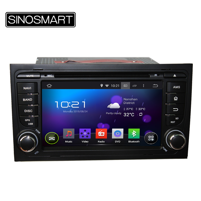 Free shipping Android 5.1 car DVD GPS for Audi A4 2003-2011 Capacitive Touch Screen 1024*600 1.6GHz Quad Core CPU Built-in Wifi(Hong Kong)