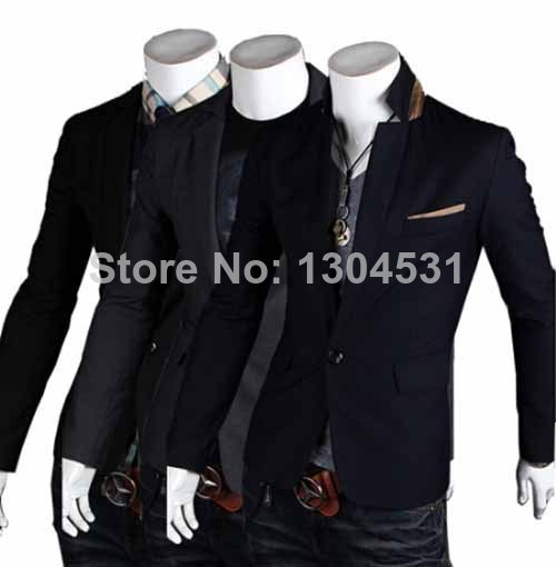 SMART Mens Sexy Casual Slim Fit One Button Top Designed Suit Blazer Jacket Coat IN 3 Colors Size M L XL XXL MN285(China (Mainland))